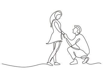 Continuous one line drawing of love marriage marriage symbol. Man giving proposal to woman.