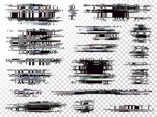 Glitch elements set. Computer screen error templates. Digital pixel noise abstract design. Video game glitch. Television signal fail. Data decay. Technical problem grunge. Fototapete