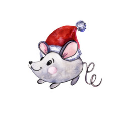 Watercolor gray mouse on a white isolated background. The mouse in the hat of Santa Claus. Cute hand-drawn character on textured paper.