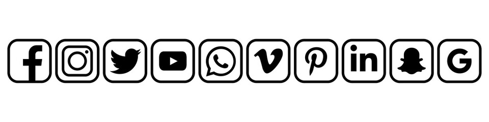 Facebook, Instagram, Twitter, Youtube, WhatsApp, Vimeo, Pinterest, Linkedin, Snapchat, Google - collection of popular social media icons. Editorial only. Kyiv, Ukraine - December 3, 2019