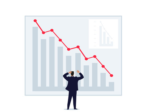 A man throws up his hands looking at a graph of falling prices. World financial crisis, unsuccessful investment, failure, loss of money. Man on the stock exchange. Flat vector isolated on a white