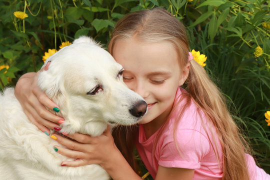 Friendly communication girls with your favorite pet dog in the summer in nature on the background of plants.