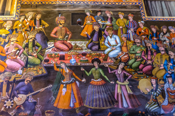 Isfahan, Iran - October 20, 2016: Painting of King of Turkistan visits Shah Abbas I inside the Chehel Sotoun pavilion in Isfahan city