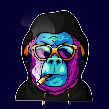 Cool face monkey smoke cigarette wear a glasses and hoodie jacket vector illustration. Pop art color animal gorilla head creative character mascot logo design