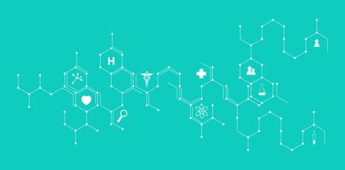 icone, mediche, farmaceutica, struttura esagonale, salute