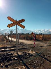 Cruce de Ferrocarril en la precordillera de Chile