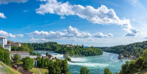 Panoramic view with the Rhine Falls in Neuhausen am Rheinfall