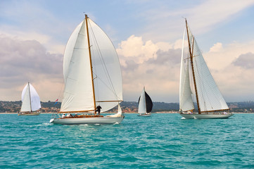 Classic yachts under sail with spinnakers at the regatta