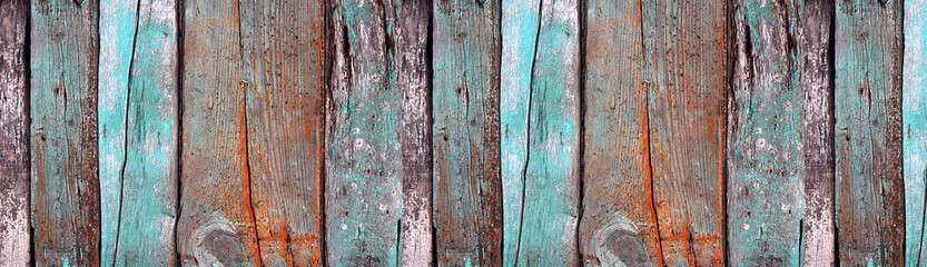 Stores à enrouleur Bois Painted wooden texture. Old wooden boards with a knots close-up. Empty background. Panoramic banner.