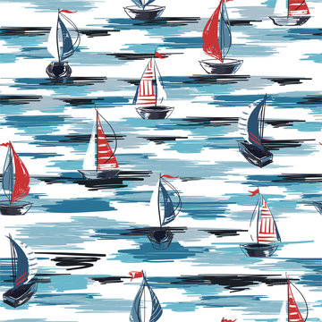 Beautiful Hand drawn brush summer boat,ship in the ocean seamless pattern vector