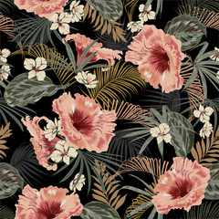 Dark tropical forest at night seamless pattern wallpaper vintage mood leaves of palm trees and exotic of flowers design for fashion,fabric,web,wallpeper,and all prints