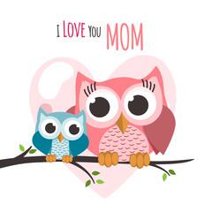 Deurstickers Uilen cartoon Mothers day owls on a tree