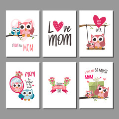 Poster Owls cartoon Mothers day greeting cards set