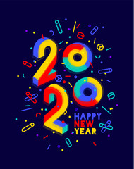 2020, Happy New Year. Greeting card Happy New Year 2020