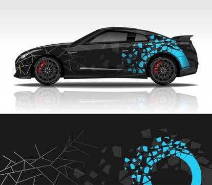 Car wrap decal design vector, for advertising or custom livery WRC style, race rally car vehicle sticker and tinting custom.