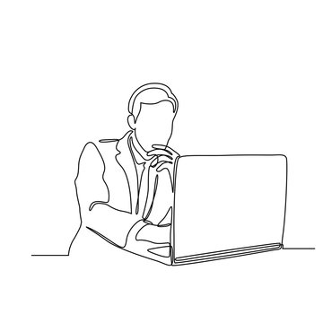 continuous line drawing of business man with laptop vector illustration