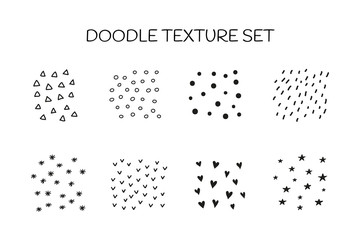 Set of doodle textures including dots, hearts, lines, snowflakes, triangles isolated on white background.