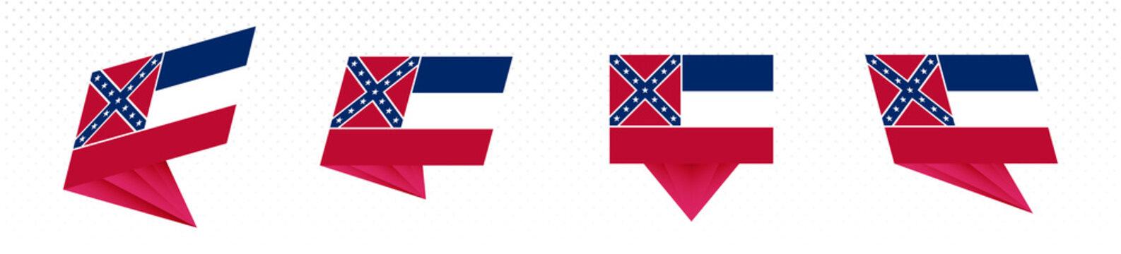 Flag of Mississippi US State in modern abstract design, flag set.