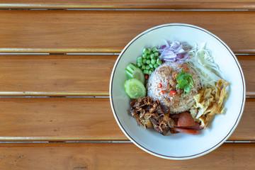 Obraz Rice seasoned with Shrimp Paste. (Khao Kluk Ka Pi) - fototapety do salonu