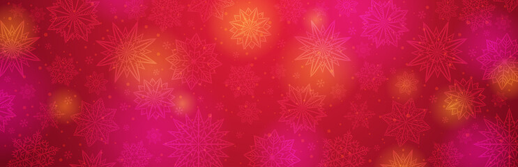 Red christmas banner with snowflakes. Merry Christmas and Happy New Year greeting banner. Horizontal new year background, headers, posters, cards, website.Vector illustration