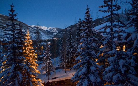 Wintry Snowy Night Scene in Vail, Colorado.
