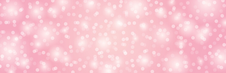 Wall Mural - Pink background with circles bokeh.  Merry Christmas and Happy New Year greeting banner. Horizontal holiday background, headers, posters, cards, website.Vector illustration