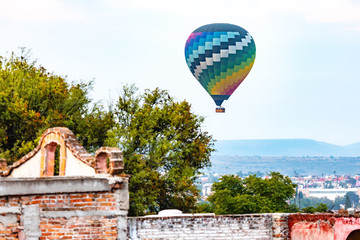 hot air balloon in the sky over San Miguel de Allende