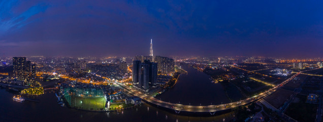 Binh Thanh District and District Two Ho Chi Minh City Aerial  Panorama at night