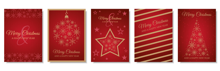 Merry christmas and happy new year cards vector set collection