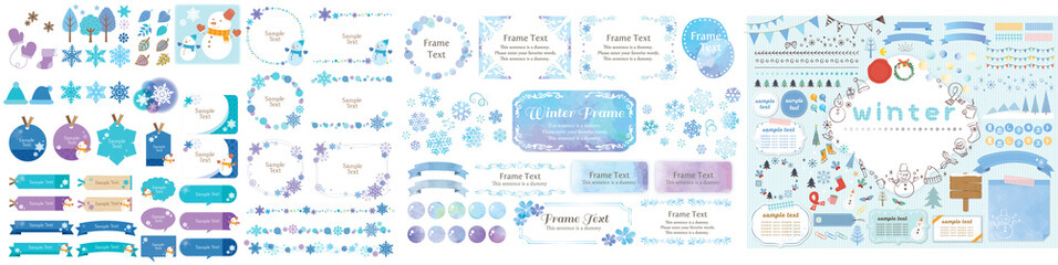 Winter blue color frame, label, background and icon collection