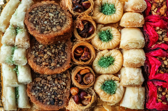 Traditional Eastern Iranian and Afghan, Turkish and Arabic sweets for the holiday. Background