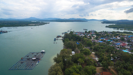 aerial view Sarasin bridge connect Phang Nga province to Phuket island. .The old bridge was renovated to be a tourist attraction and a viewpoint in the middle of the sea..