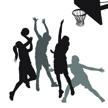 Vector silhouettes of girls highschool basketball players.