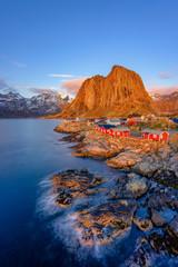 Classic view of Hamnoy at blue hour, near Reine on Lofoten Islands, Norway, Scandinavia