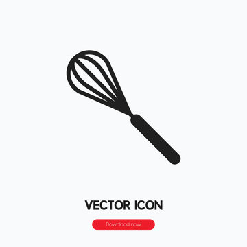 Whisk icon vector. Linear style sign for mobile concept and web design. Mixer symbol illustration. Pixel vector graphics - Vector.