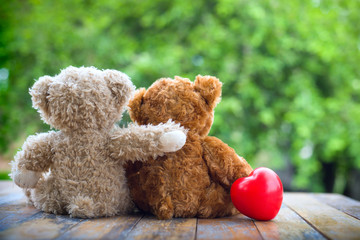 Brown teddy bear cute couple embracing each other to show love on nature background with sweet and romantic moment.
