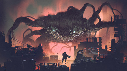 Zelfklevend Fotobehang Grandfailure sci-fi scene showing the giant monster invading night city, digital art style, illustration painting