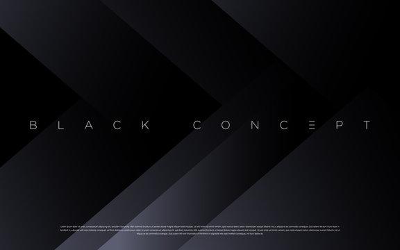 Minimalist black premium abstract background with luxury dark geometric elements. Exclusive wallpaper design for poster, brochure, presentation, website etc. - Vector EPS