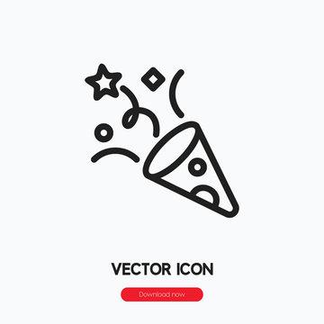 confetti icon vector. Linear style sign for mobile concept and web design. confetti symbol illustration. Pixel vector graphics - Vector.