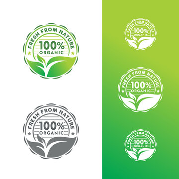 Organic Natural Badge Label Seal Sticker Logo