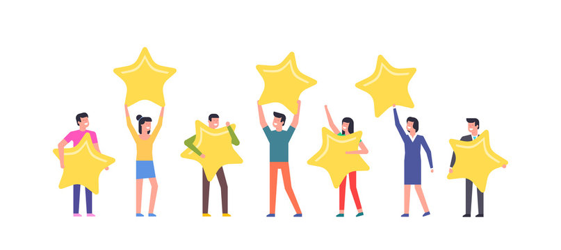 Happy people are holding review stars over their heads. isolated on white background