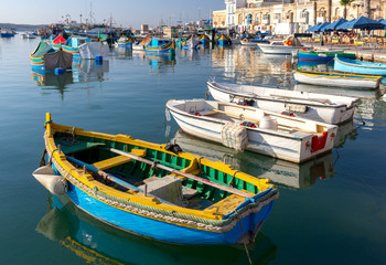 Marsaxlokk. Traditional boats Luzzu in the old harbor.