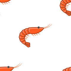 Shrimp seamless pattern. Multicolored, volumetric design. One direction. Simple isolated vector on a white background