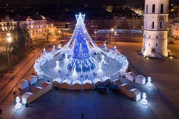 Christmas Tree in Vilnius, Lithuania. 2019 Christmas Tree one of the most beautiful tree in the Europe.