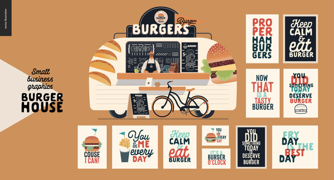 Burger house - small business graphics -food truck -modern flat vector concept illustration of a burgers street food truck van, seller, menu, pavement sign -blackboard, bicycle. Set of caption posters