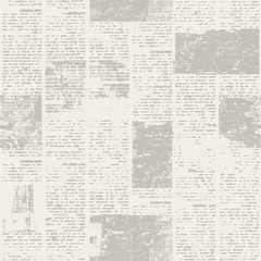 Newspaper seamless pattern with old vintage unreadable paper texture background