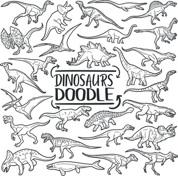 Dinosaurs Prehistoric Animals. Traditional Doodle Icons. Sketch Hand Made Design Vector.