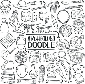 Archeology Explorer. Discover Ancient Objects. Traditional Doodle Icons. Sketch Hand Made Design Vector.