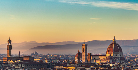 Panoramic view of Florence at sunset, Italy