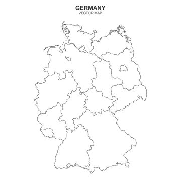 political map of Germany isolated on white background